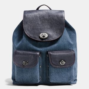 Coach Turnlock Rucksack Colorblock Denim Backpack